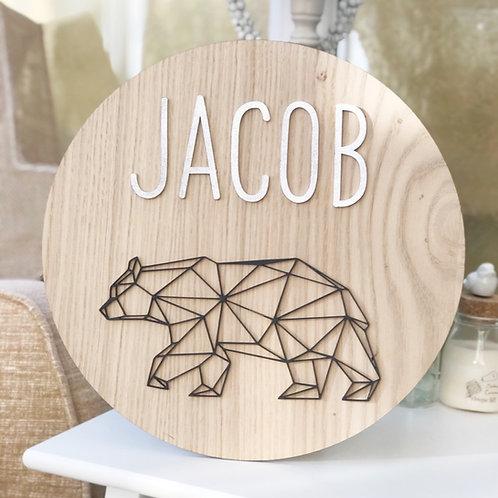Personalised Geometric Bear Oak wall Plaque
