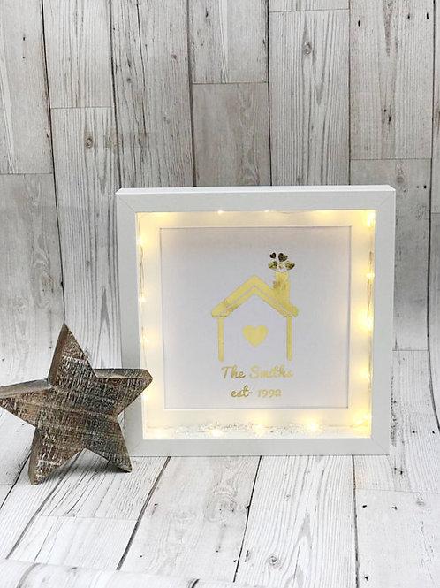 Light Up Personalised Family Foil Print Box Frame