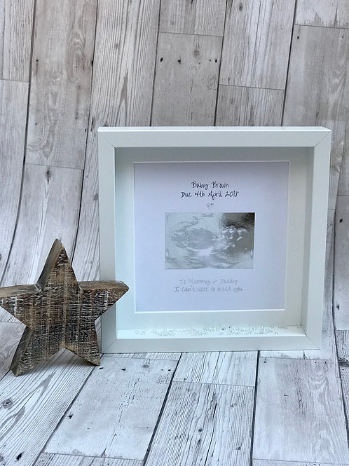Foil Print Scan Box Frame. Personalised Gift
