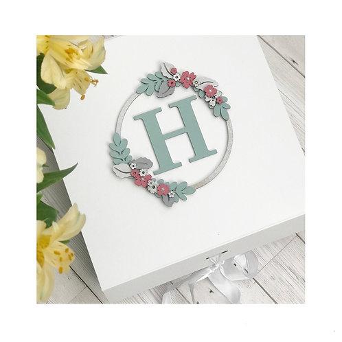 Personalised Floral Initial Keepsake Box