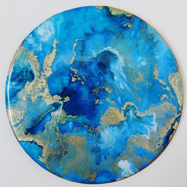Blue and gold resin art
