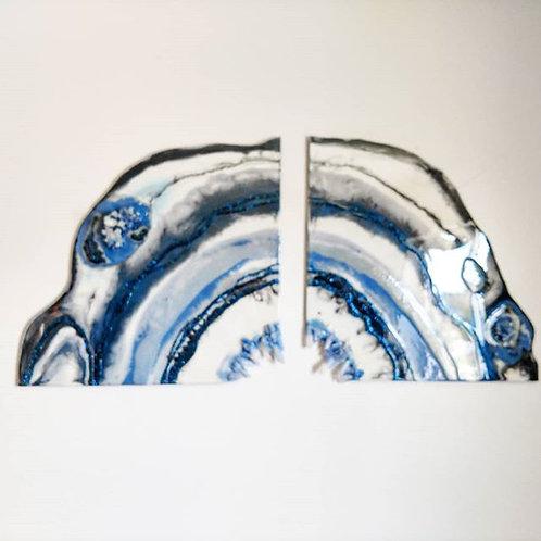 Navy Blue Geode Wall Art