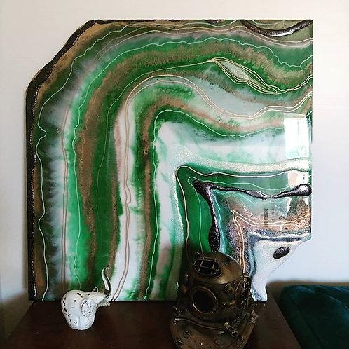 Emerald Green Resin Geode Wall Art
