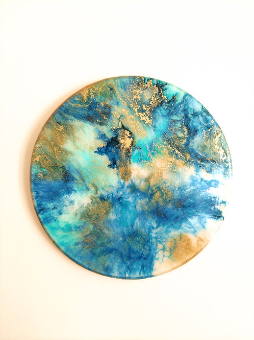 Teal and Gold Wall Art Disk