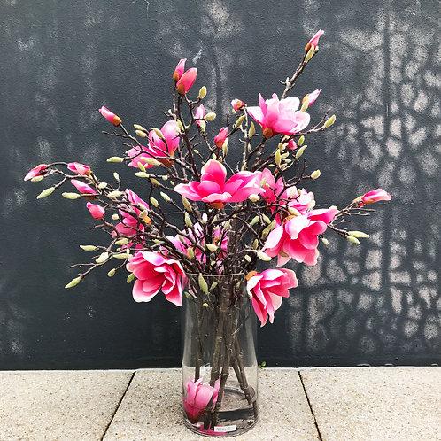 Pink Magnolia in cylinder vase design