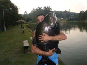 Pesqueiro Taquari – Nosso amigo renato com uma um grande baguá na linha