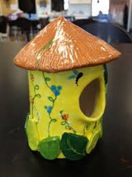 Family Pottery Wheel/handbuilding in clay/Birdhouses and bowls/All Ages