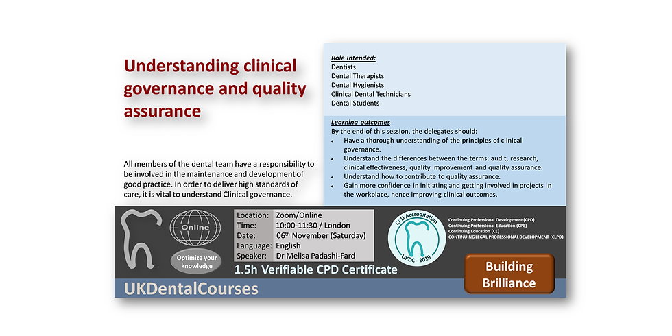 Understanding clinical governance and quality assurance