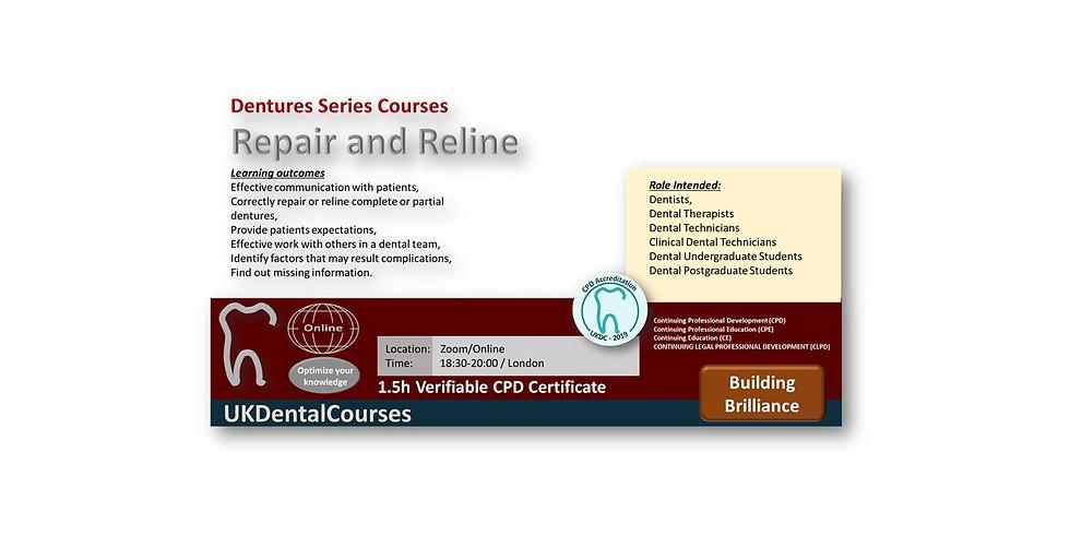 Dentures – Repairs and Reline 27Oct21