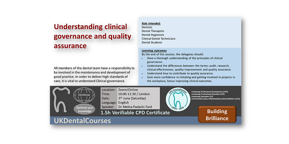 Understanding clinical governance and quality assurance (5May21)