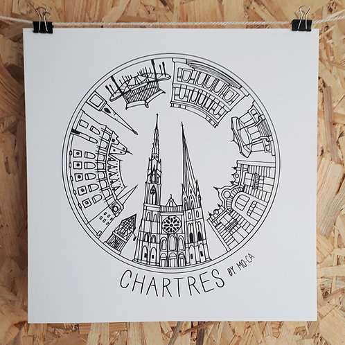 """AFFICHE  """"CHARTRES BY MO-CA""""  30x30"""