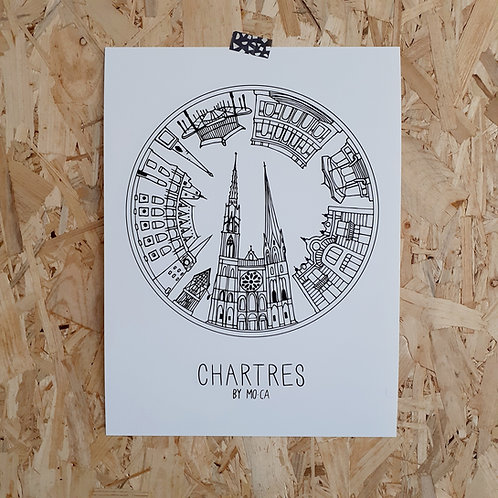 """AFFICHE  """"CHARTRES BY MO-CA""""  30x40"""
