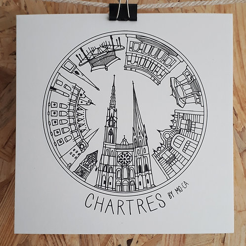 """CARTE """"CHARTRES BY MO-CA"""" 15x15"""
