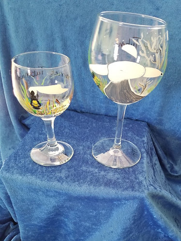 "Hand-painted ""Tubman Lantern"" Wine Glasses"