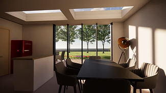 Modern single storey open plan Kitchen and Dining Space with Bifold Doors and rooflights