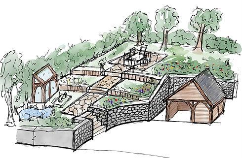 Landscape Proposal & Oak Framed Structure | Staffordshire
