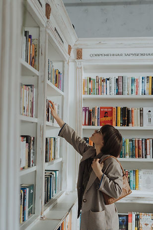 Looking for books on a bookshelf