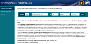 Investment Adviser Public Disclosure Search