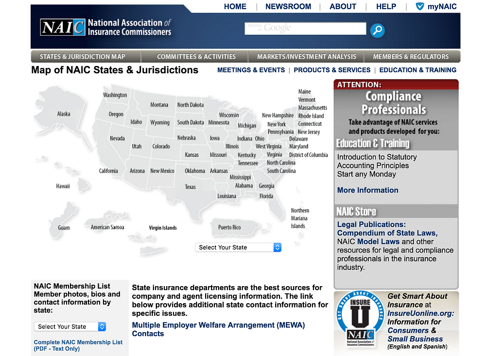 NAIC States and Jurisdictions Map
