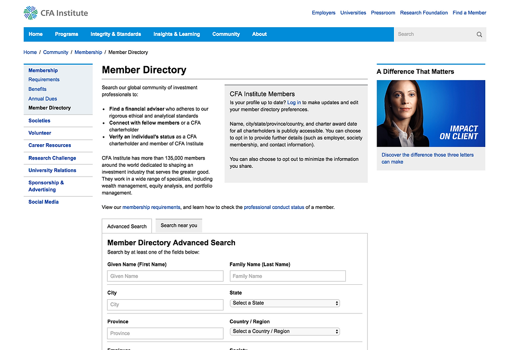 CFA Institute Member Directory