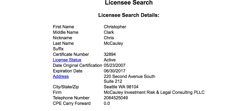 North Carolina CPA Licensee Search Result
