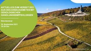Aktuelles zum Herbst 2021 aus den Anbaugebieten mit oenologischen Handlungsempfehlungen