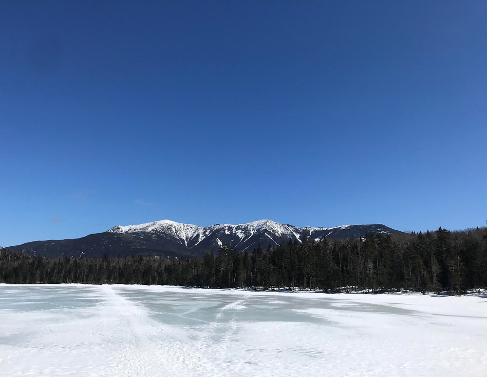View of frozen Lonesome Lake