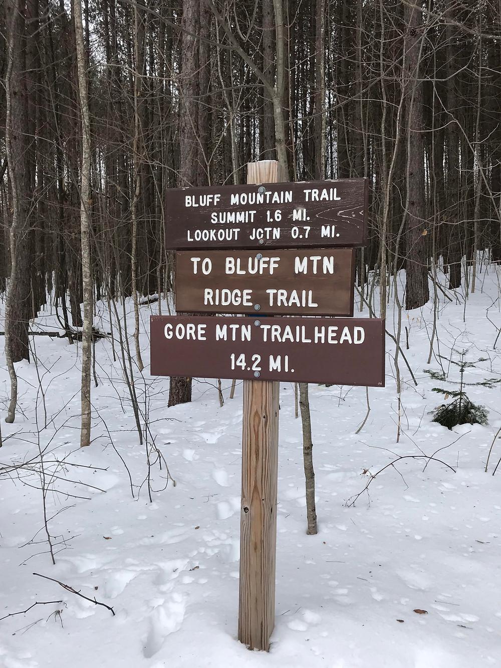 Start of Bluff Mountain Trail