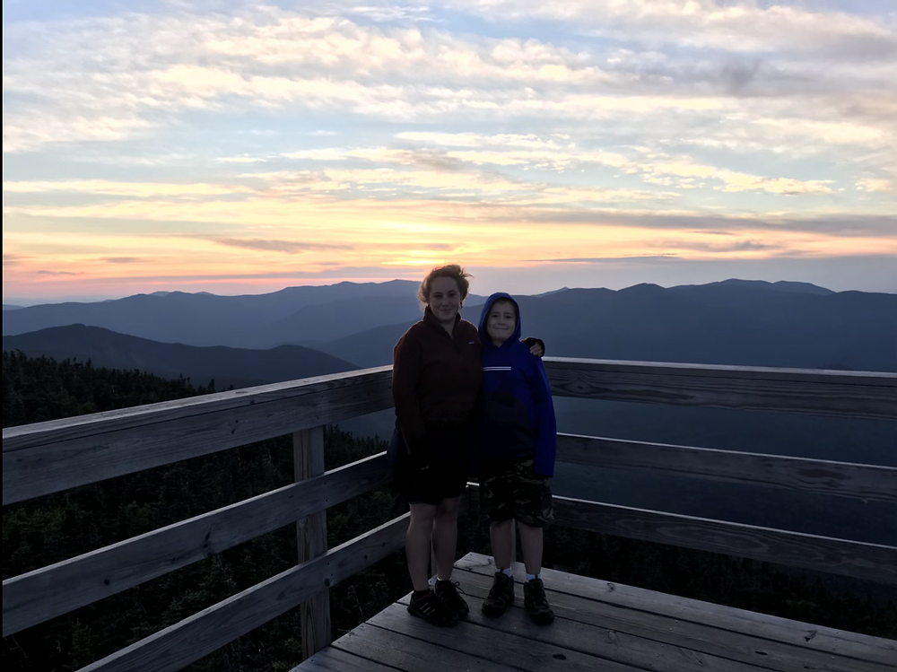 My son and I on the fire tower at Mt. Carrigain