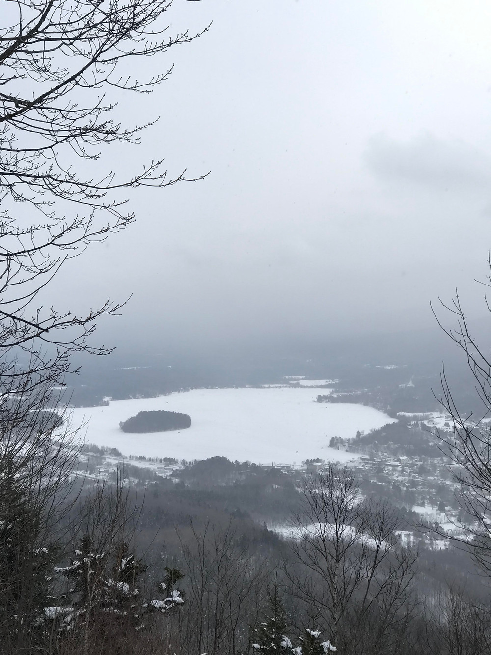view on Island Pond from Bluff Mountain