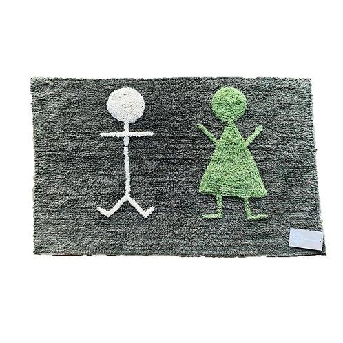 שטיח מקלחת אפור ילד וילדה