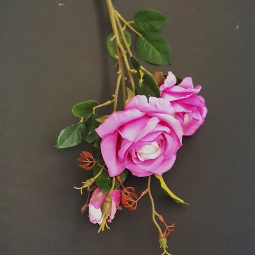 ענף ורד פוקסיה- פרחי משי לעיצוב הבית