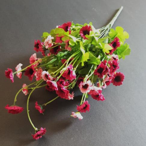בוקט חרציות ורוד/ בורדו - פרחי משי לעיצוב הבית