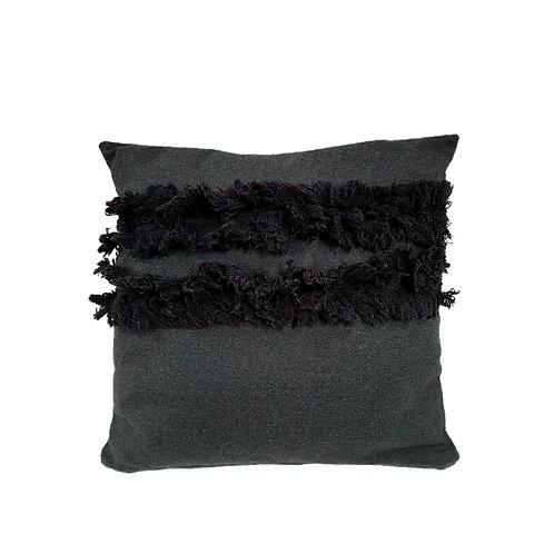 כרית כותנה בצבע אפור כהה עם פרנזים