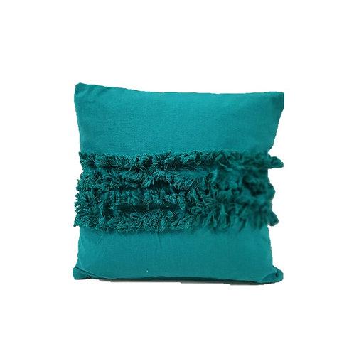 כרית כותנה בצבע טורקיז עם פרנזים