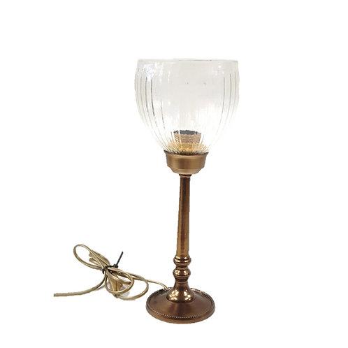 מנורת שולחן זכוכית שקופה