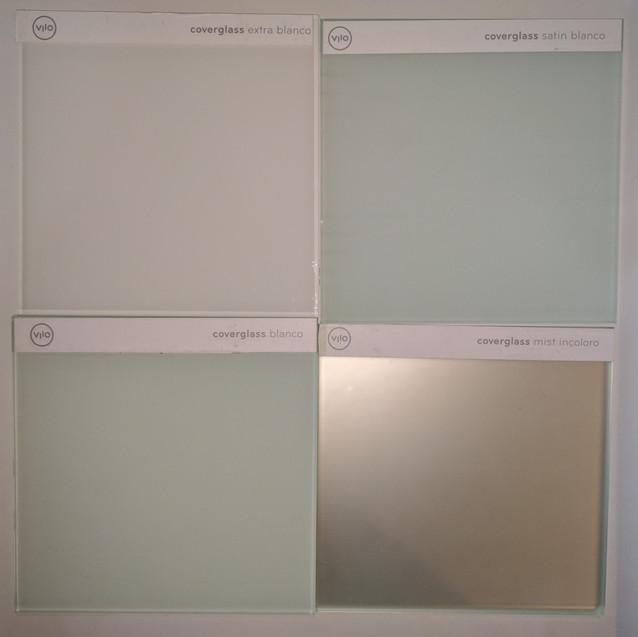 Contraste entre Coverglass Extra Blanco, Coverglass Satín Blanco, Coverglass Blanco y Coverglass Mist Incoloro