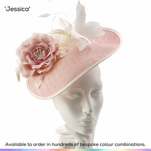 Jessica.  A shaped saucer shaped headpiece featuring a spray of softly bobbing feathers, sculptural spiral twists and a beautiful handmade silk rose with faux pear stamens.  Available to order in thousands of colour combinations to match your outfit perfectly.  Handmade by Marvellous Millinery, Winchester, Hampshire UK.  Bespoke ladies wedding hats for Mother of the Bride, Mother of the Groom, Top Table Wedding Guests, Ladies Day at Royal Ascot, Glorious Goodwood, Garden Parties at Buckingham Palace and Royal Investitures.