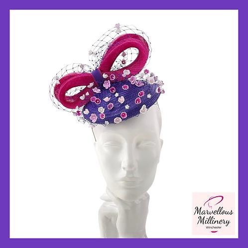 Purple and Magenta Pillbox Cocktail Hat