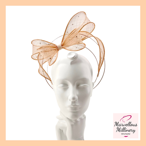 Rose Gold and Peach 'Floating Bow' Halo Headband