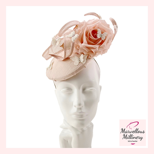 Shell Pink and Ivory Lace Butterflies Cocktail Hat