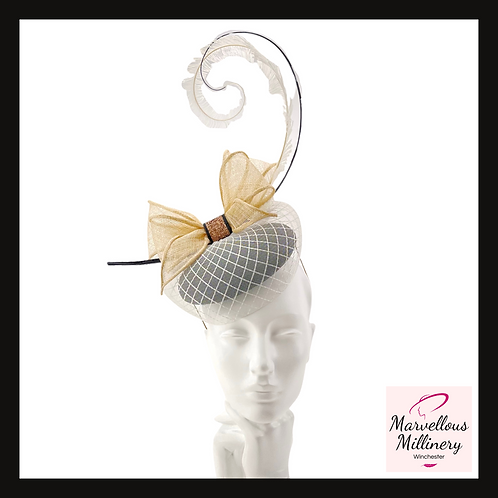 Black, Natural and Ivory Veiled Pillbox Cocktail Hat