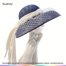 Audrey.  A classic double-domed picture hat featuring a double layer of bircage veiling that has been softly gathered over the brim and a delicate swathe of silk organza that gently cascades down from the back of the hat.  Trimmed with a drape of silk which has been finished with a gathered pompom.  Available to order in thousands of colour combinations to match your outfit perfectly.  Handmade by Marvellous Millinery, Winchester, Hampshire UK.  Bespoke ladies wedding hats for Mother of the Bride, Mother of the Groom, Top Table Wedding Guests, Ladies Day at Royal Ascot, Glorious Goodwood, Garden Parties at Buckingham Palace and Royal Investitures.
