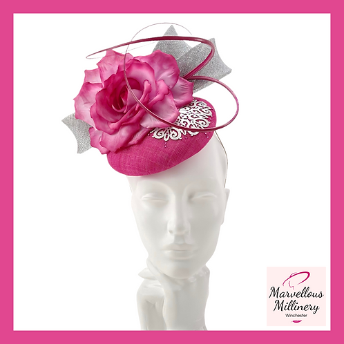 Fuchsia Pink and Silver Perching Pillbox Hat