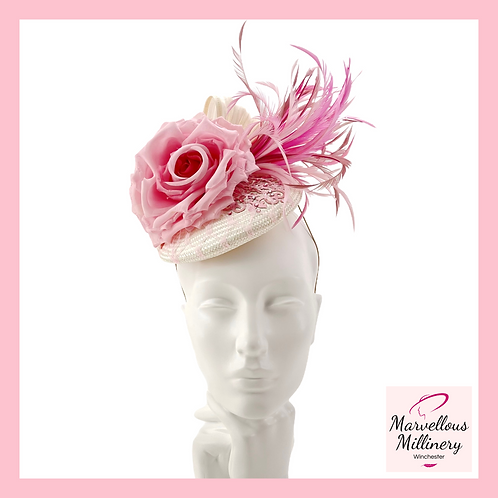 Sorbet Pinks and Ivory Cocktail Hat