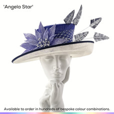 Angela Star.  A classic Picture style ladies occasionwear hat, featuring a stepped crown and brim and trimmed with a handmade velvet Lilly flower and finished with a drape fo veiling and bobbing ostritch feathers.  Available to order in thousands of colour combinations to match your outfit perfectly.  Handmade by Marvellous Millinery, Winchester, Hampshire UK.  Bespoke ladies wedding hats for Mother of the Bride, Mother of the Groom, Top Table Wedding Guests, Ladies Day at Royal Ascot, Glorious Goodwood, Garden Parties at Buckingham Palace and Royal Investitures.