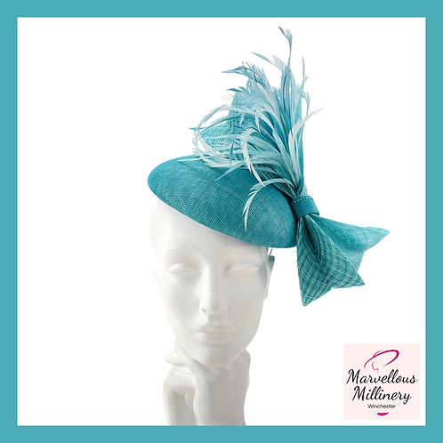 Teal Turquoise and Kingfisher Blue Pillbox Cocktail Hat