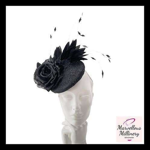 Black Silk Rose Pillbox Cocktail Hat