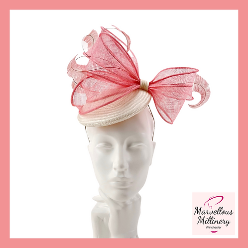 Raspberry Pink and Ivory Cocktail Hat