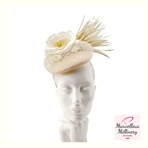 Cream and Ivory Perching Pillbox Hat